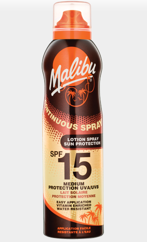 Malibu Sun Spray Lotion SPF15 (Continuous Spray)